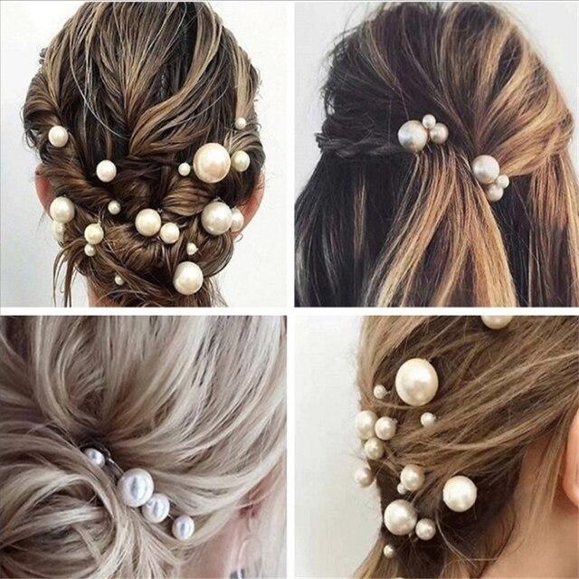 Fashion Women Simulated Pearl Hairpins Metal Barrette Clip Wedding Bridal Tiara Hair Accessories Wedding Hairstyle Design Tools