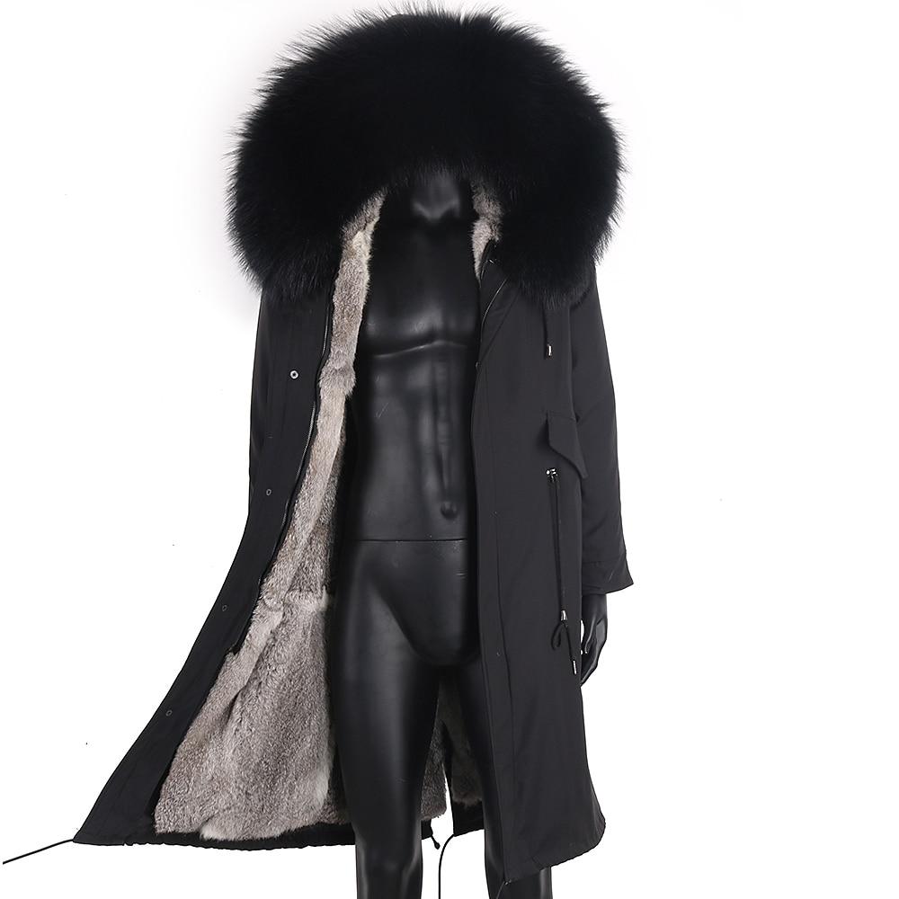 معطف شتوي للرجال X معطف طويل باركاس 7XL ببطانة من فرو الأرانب الحقيقي طوق الراكون الطبيعي سميك دافئ ملابس خارجية