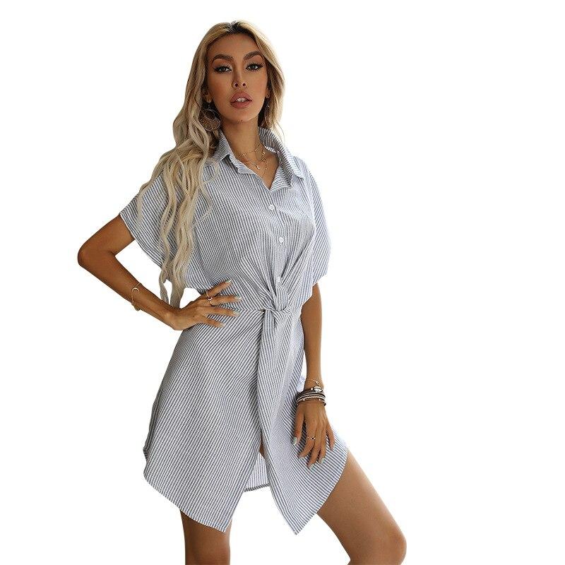 Полосатое платье-рубашка с рукавом летучая мышь