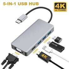 Hub USB C 5 w 1 USB C HDMI VGA Dual-przejściówka do wyświetlacza z USB 3.0*3 HDMI 4K VGA 1080P @ 60HZ Thunderbolt 3 typu C Hub do macbooka