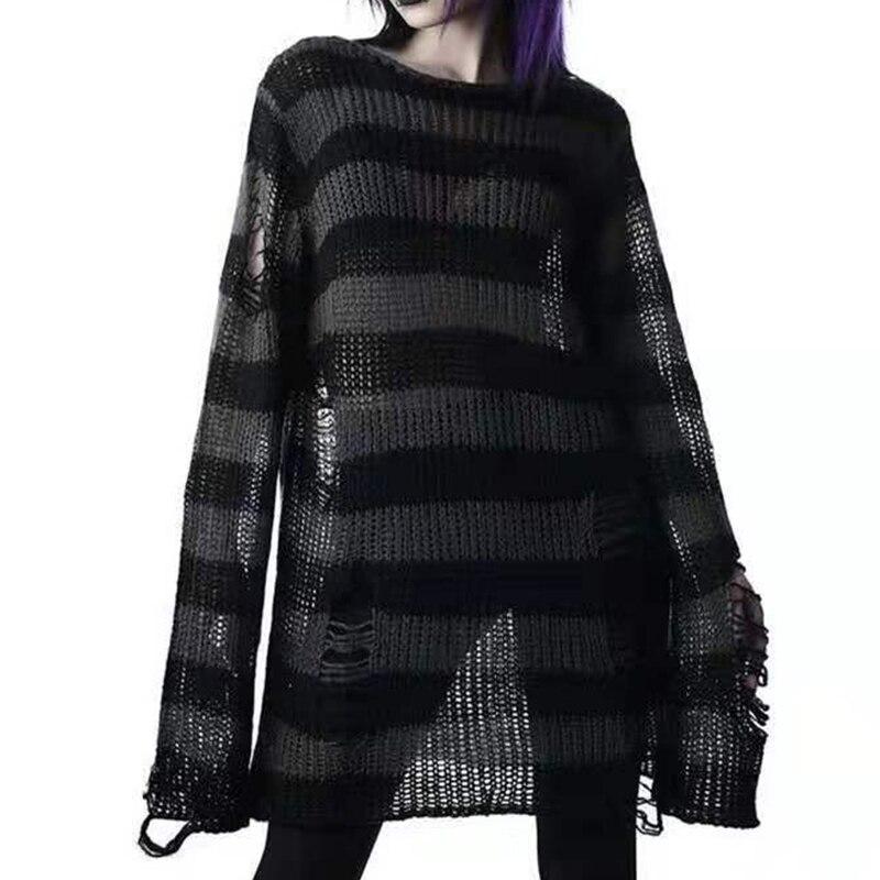 Punk Gothic Long Unisex Sweater 2021 Summer Women Striped Cool Hollow Out Broken Jumper Loose Thin Dark Streetwear Rock Top