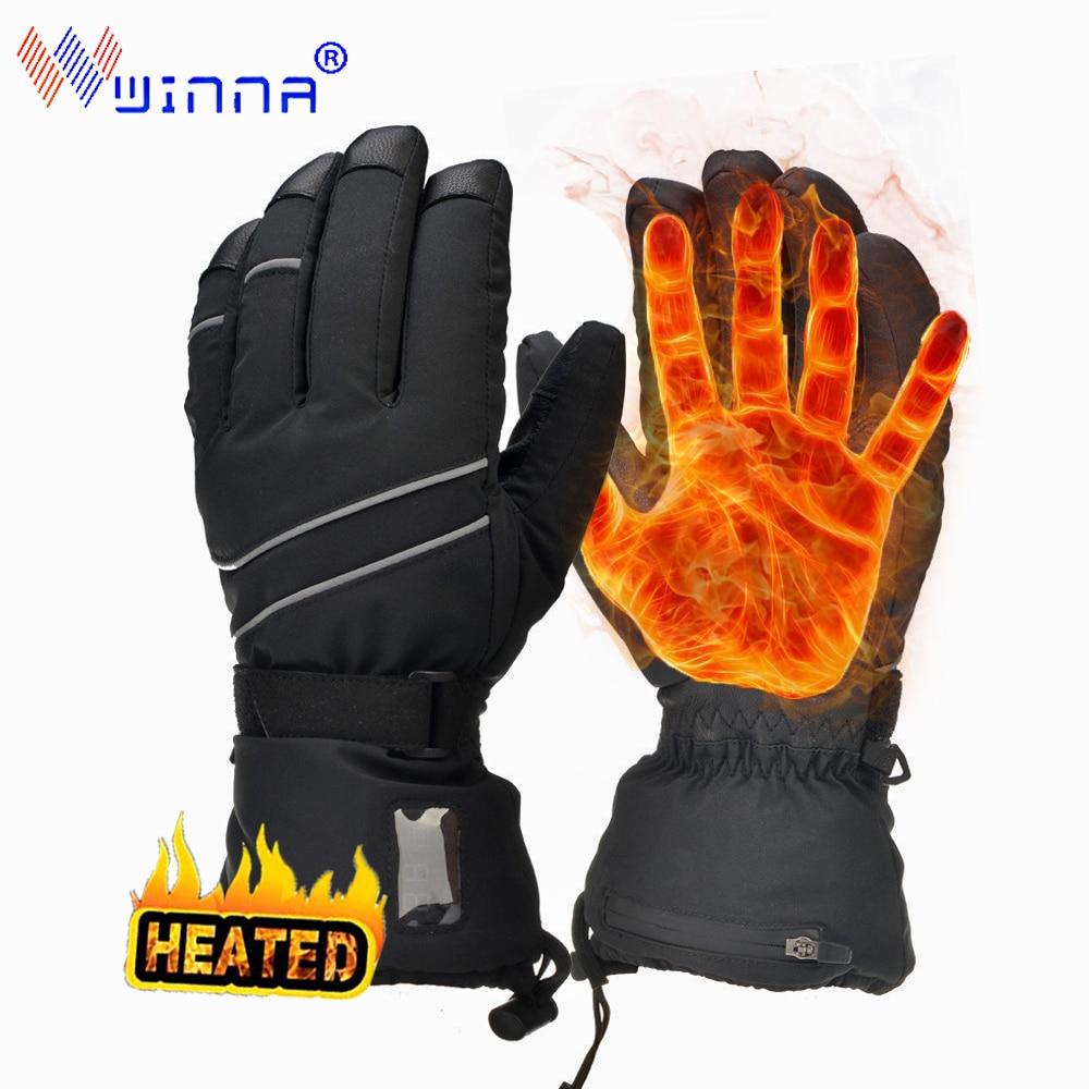 Heated Gloves for Men Women Electric Heating Motorcycle Waterproof Heated Moto Touch Screen Rechargeable  Battery Skiing Gloves