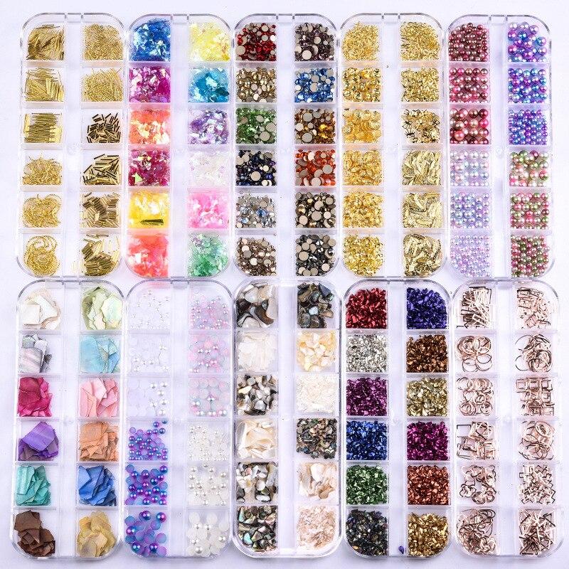 21 Styles Of Nail Art Jewelry Pearl Rivets Glitter Nail Flat Diamond Sequins Rhinestone Hollow Stick