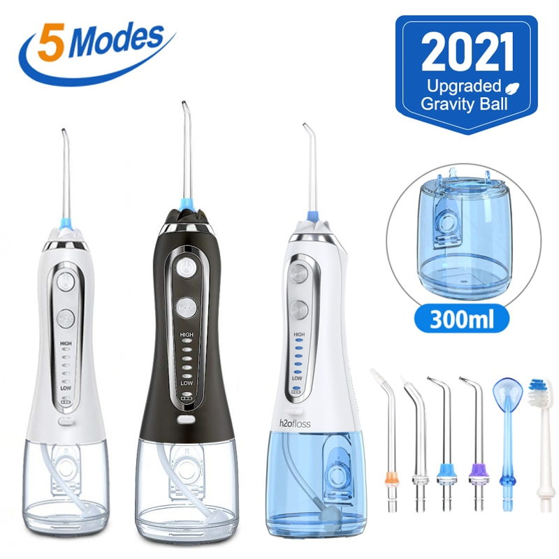 h2ofloss 300ml Cordless Oral Irrigator USB Rechargeable Portable Dental Water Floss Irrigator Dental Teeth Cleaner 5 Jet Tip+Bag