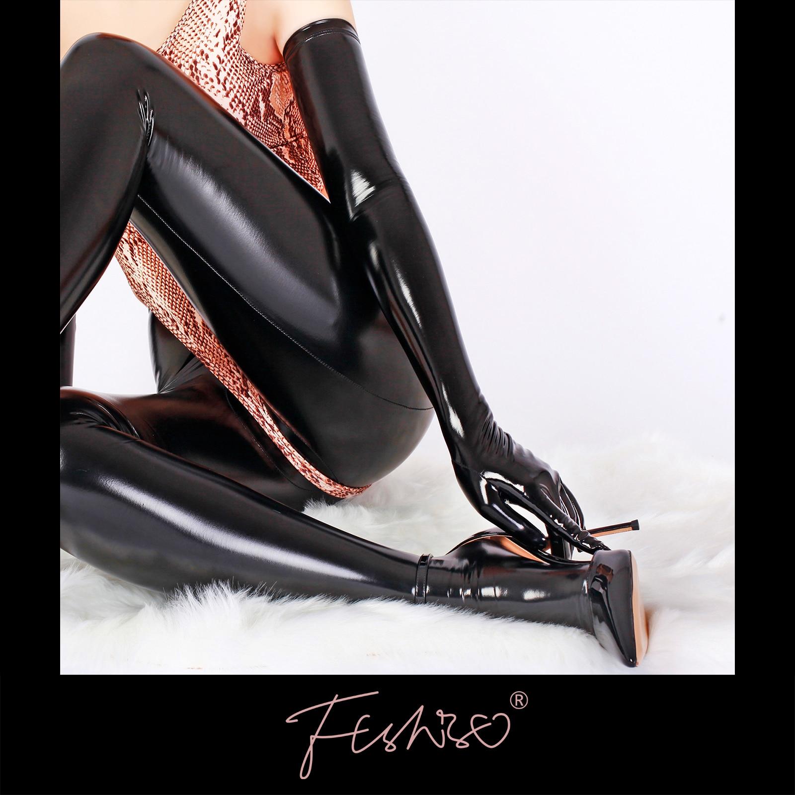 Ftshist المرأة لامعة فو الجلود قفازات طويلة للرجال اللاتكس الوثن براءات الاختراع والجلود كامل أصابع الكوع قفاز تأثيري الإكسسوارات