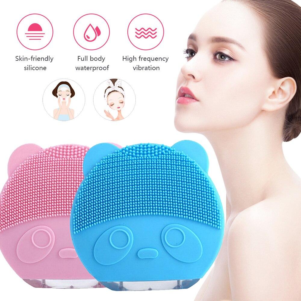 Cepillo eléctrico de silicona para limpieza Facial, cepillo de limpieza Facial a prueba de agua, recargable, con vibración Sónica, limpiador de poros faciales, masajeador para piel