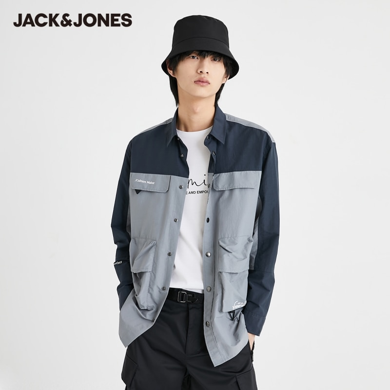 قميص جاكجونز فضفاض للرجال متناقض مع جيوب متعددة كارغو بأكمام طويلة | 220305073