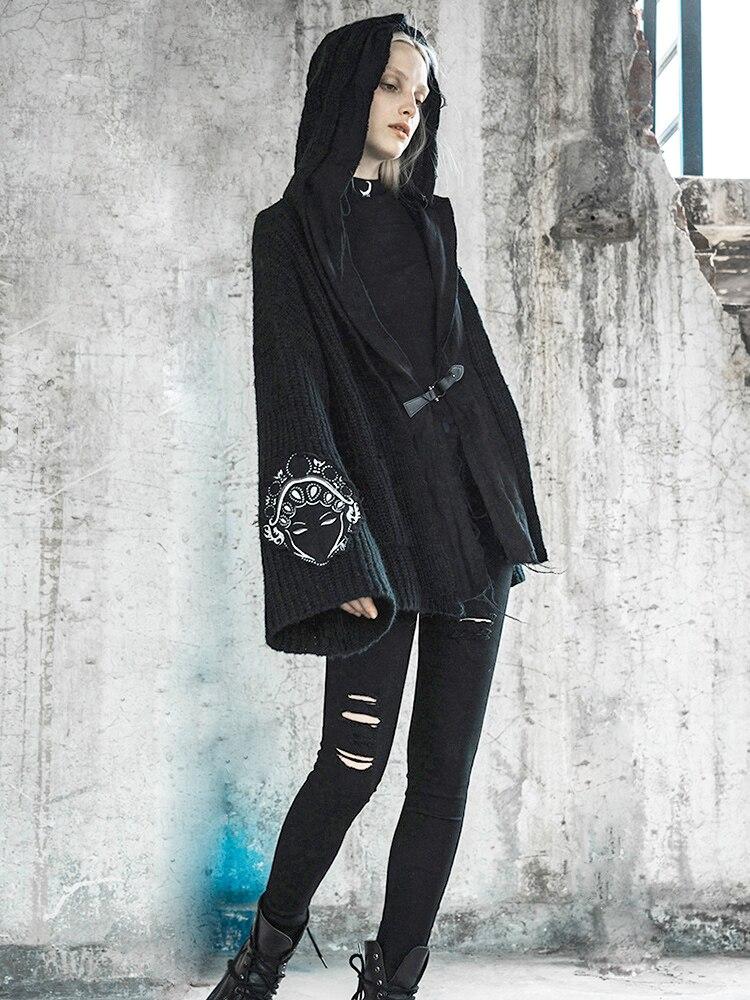 PUNK RAVE femmes Punk Cardigan pull manteau automne paresseux vent en vrac tricot épais à capuche manteau