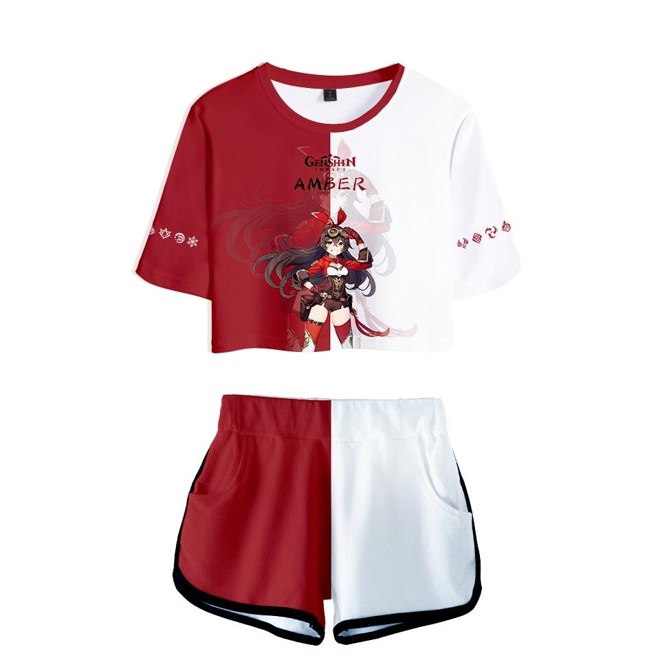 Popular 3D Genshin Impact Women Two Pieces Sets Fashion Shorts+Crop Tops T-shirt Summer Hip Hop Girls Cartoon Red+White Suits