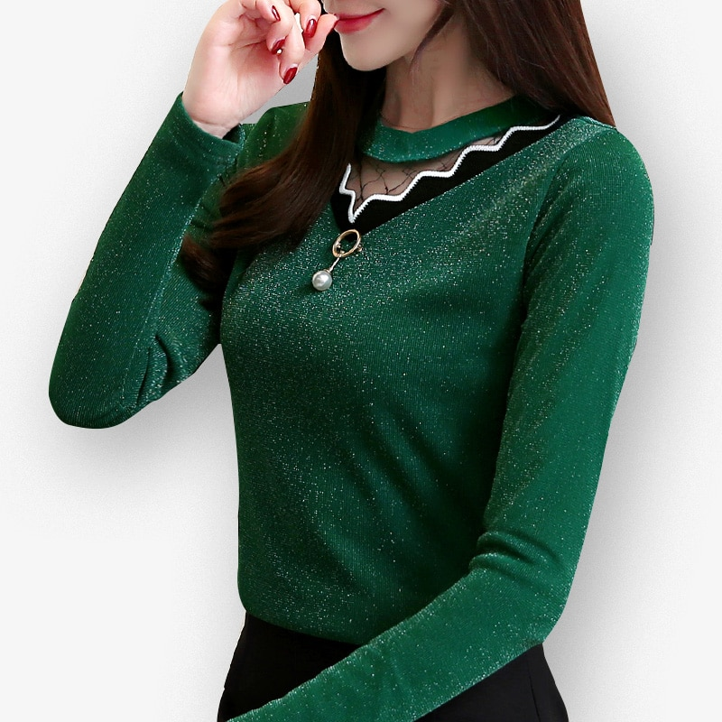 Spring Autumn hollow out sexy Blouse shirts new arrival women long sleeve shirt slim lace female solid color top