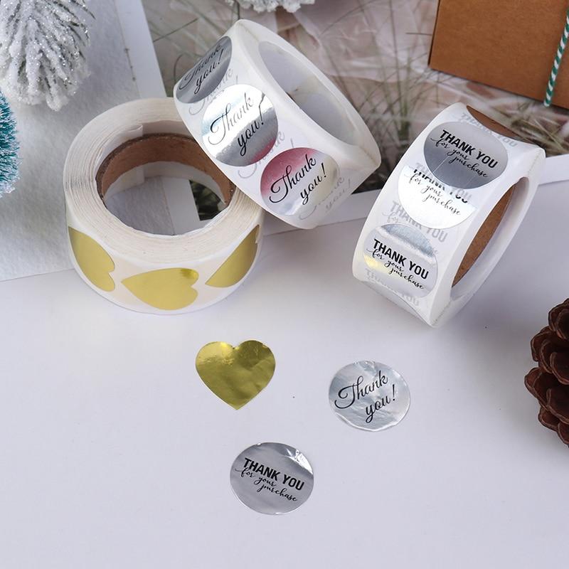 500 Uds./rollo de pegatinas hechas a mano gracias pegatinas etiqueta papel Kraft café redondo papelería alimentos pegatinas Deco sobre para regalo