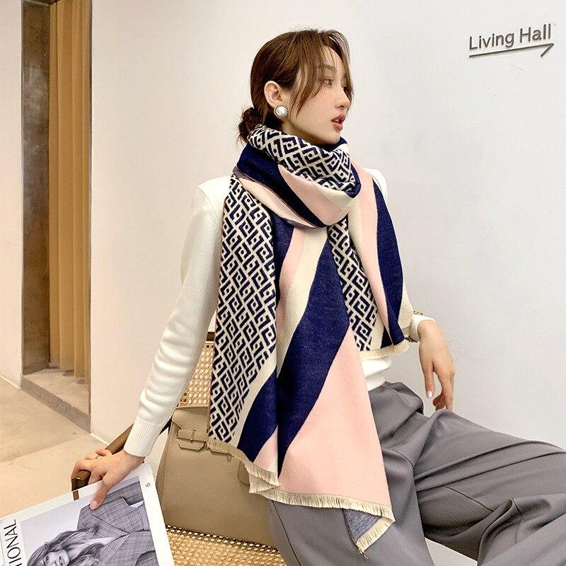 Bufanda de Cachemira de dos caras para mujer, chales de lana con...