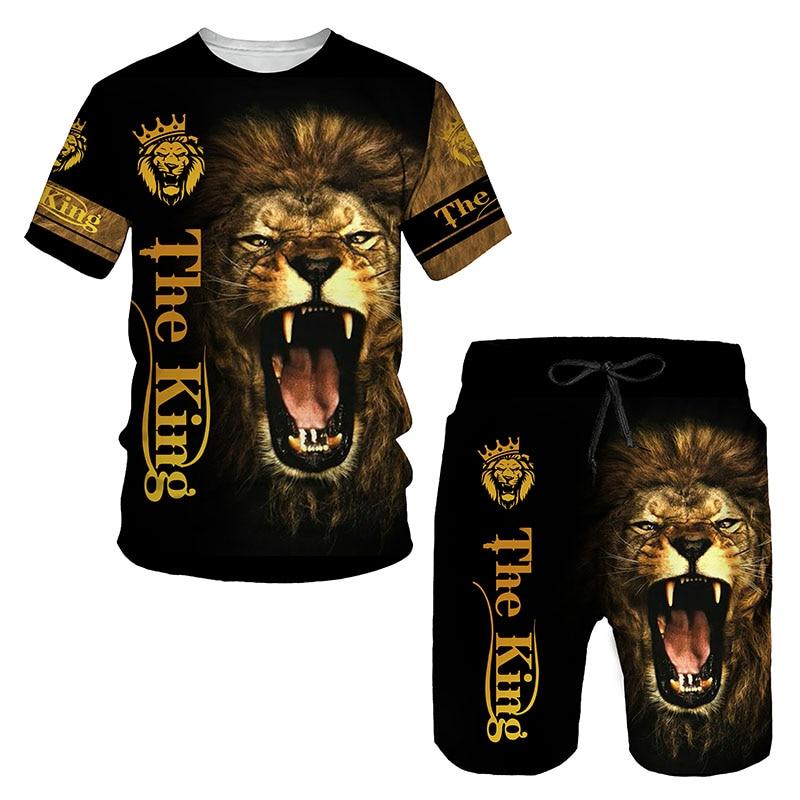 Ferocious Lion Summer 3D Printed Men's T-shirt Shorts Set Men's Sportswear Tracksuit O Neck Short Sleeve Men's Clothing Suit