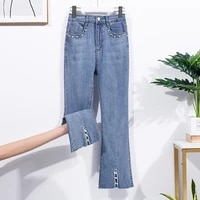 split stretch casual jeans plus size stitching bead tassel womens pants 4xl korean fashion big pocket flared pants zipper