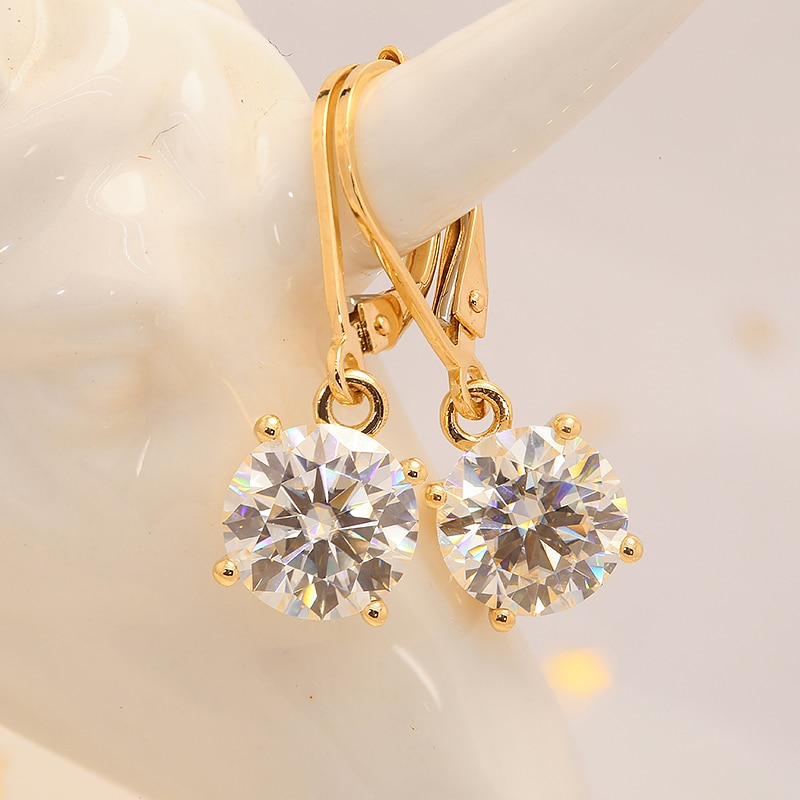 100%  Au585 Yellow Gold 14k Moissanite Gemstone Drop Earrings 4.0CT 10MM Round for Women Solitaire Party Fine Jewelry