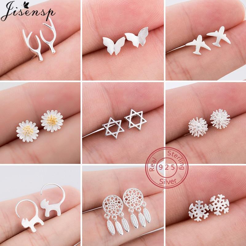 Real 925 Sterling Silver Earrings for Women Kids Fine Jewelry Cat Plane Deer Butterfly Stud Earrings