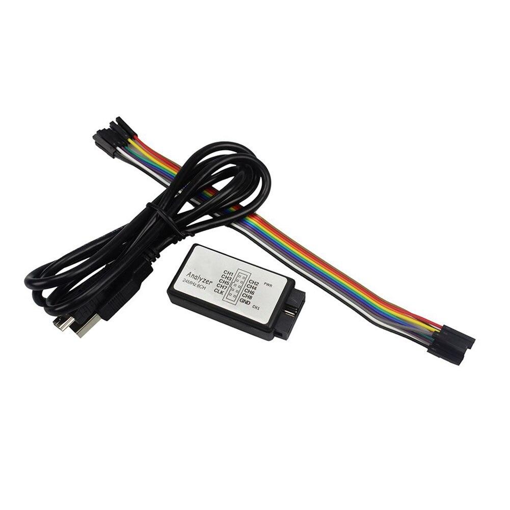 Мини-инструмент, портативный измерительный логический анализатор для загрузки данных, 24 м, 8CH, Черная рукоятка, профессиональный микроконтроллер, отладка, питание от USB, FPGA