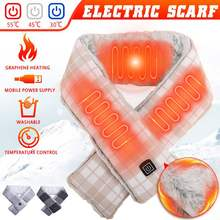 USB Heated Winter Scarf Women Adjust Temperature Electric Heating Scarf Neckerchief Collar Scarf The