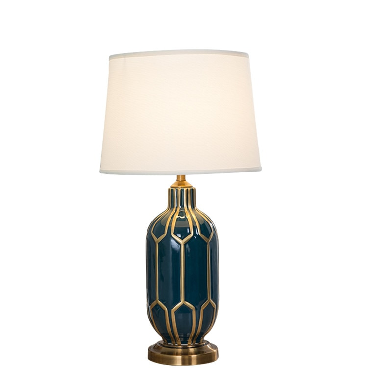 Lámpara de mesa de cerámica con borde dorado azul de estilo americano para dormitorio, cabecera, sala de estar, vestíbulo, escritorio de estudio, luz de lectura nocturna TD046