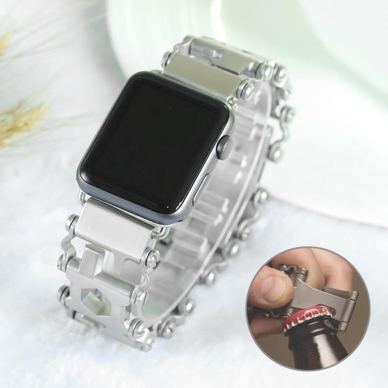 para Apple Ver Ferramenta Combinação Gadgets 304 Aço Inoxidável Escovado Design Exclusivo Pulseiras Iver Myl-52bd 6 5 4 3 2
