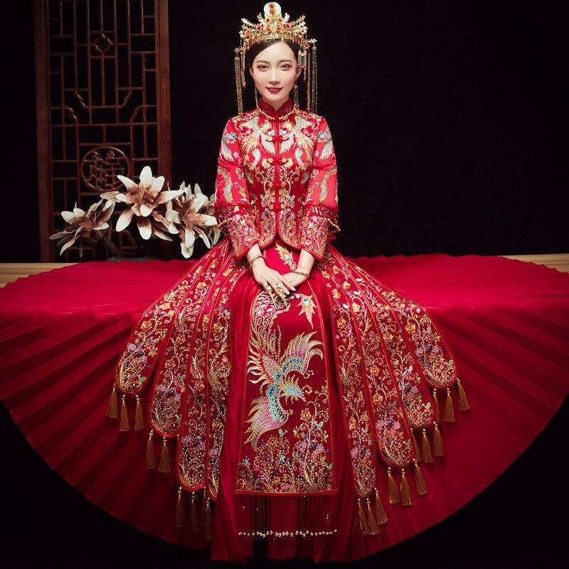 فستان زفاف صيني عتيق ، نحيف ، مطرز بالذهب ، فينيكس ، شيونغسام ، مكرر ، مأدبة أنيقة