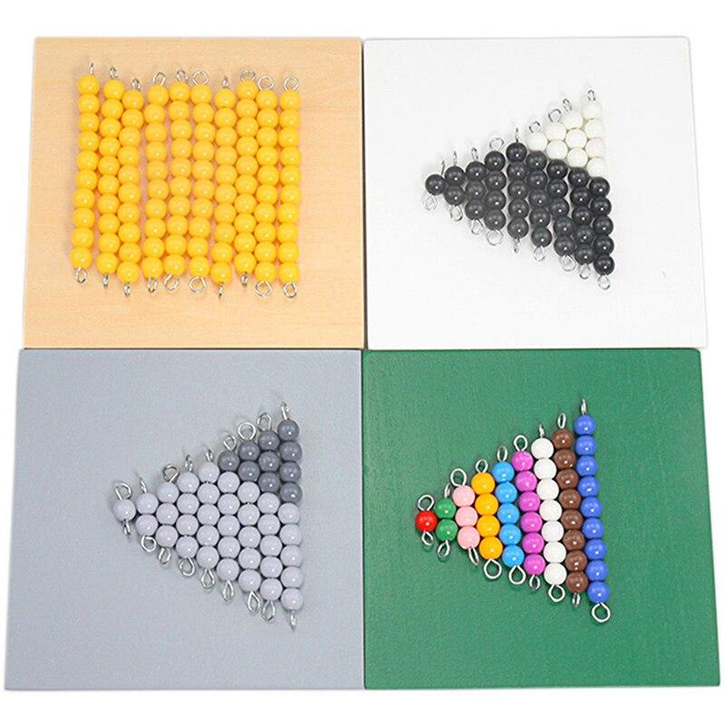 Монтессори математические игрушки вычитание со змеиным рисунком игры 4 шт., деревянных коробок Цветной подсчет бусин 1-10 Математические Игр...