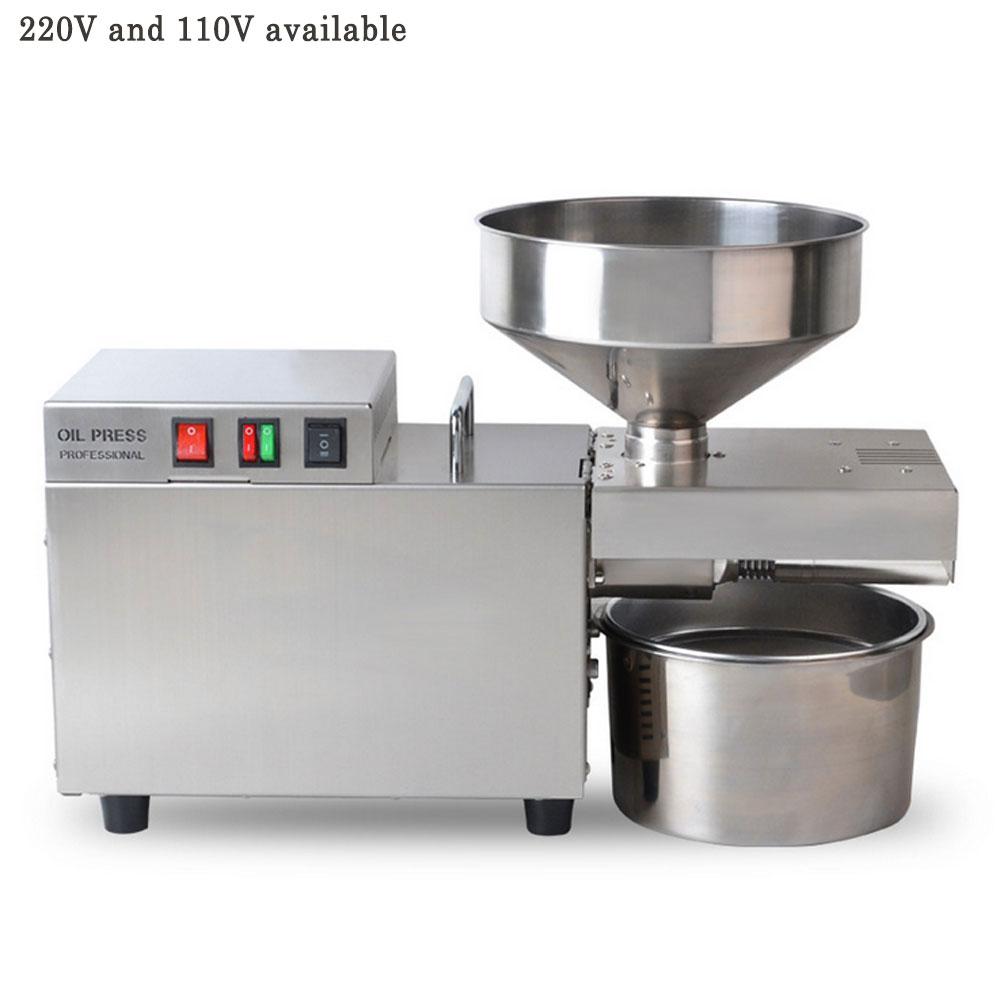 Máquina de aceite automática de acero inoxidable pequeña máquina de prensa comercial para aceite máquina de extracción de aceite de coco de cáñamo 1500W