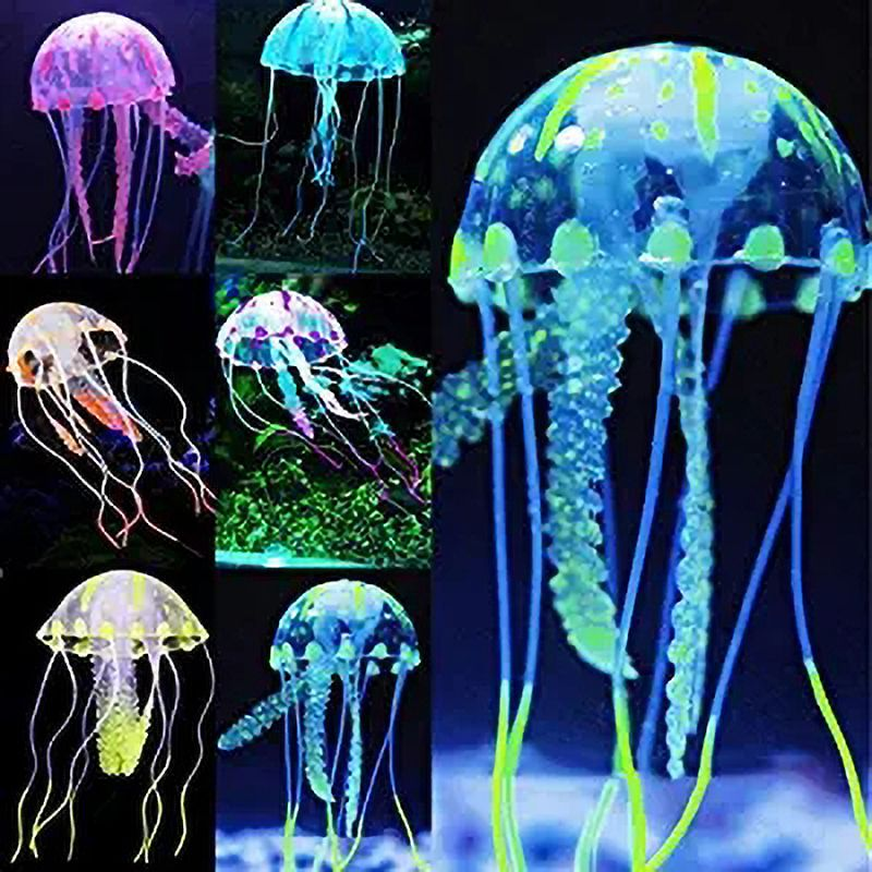 Colorful Artificial Glowing Effect Fish Tank Decoration Aquarium Jellyfish Ornament Fish Tank Decoration Aquatic Pet Supply
