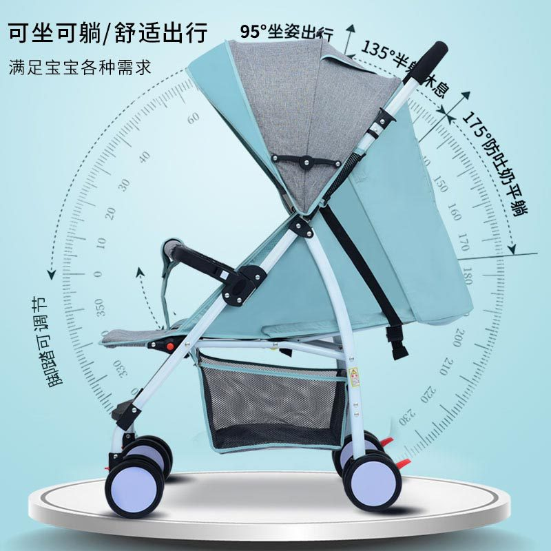 New Baby Stroller Can Sit and Lie Down Four Seasons General Outdoor Small Light Portable with Umbrella Cart Children's Trolley enlarge