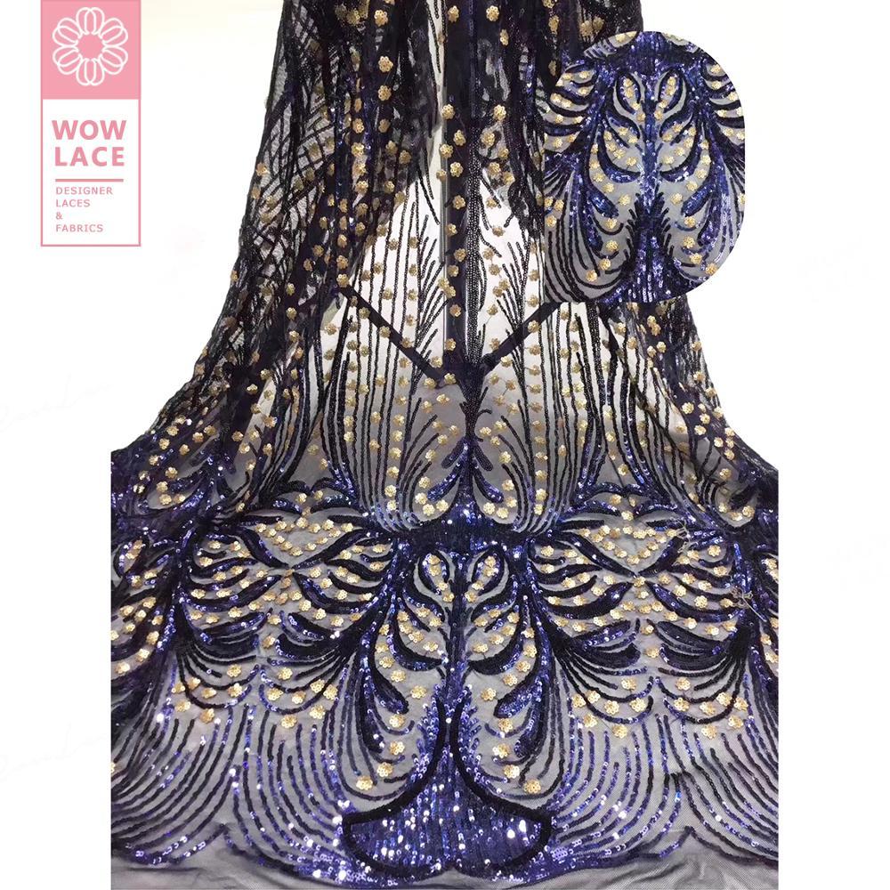 Tela clásica de encaje de tul con lentejuelas estilo único Color azul real vestidos de novia con lentejuelas y malla