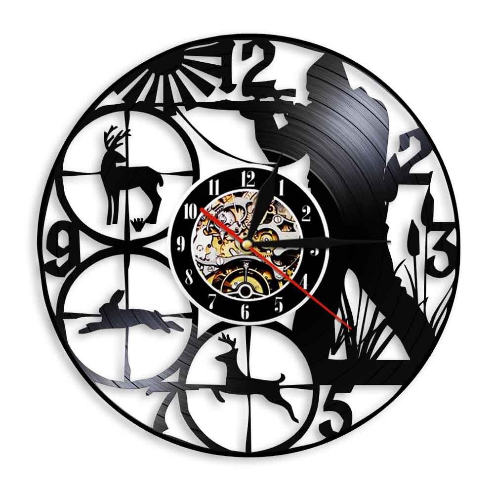 Reloj de pared con grabación de vinilo para caza de animales, reloj...