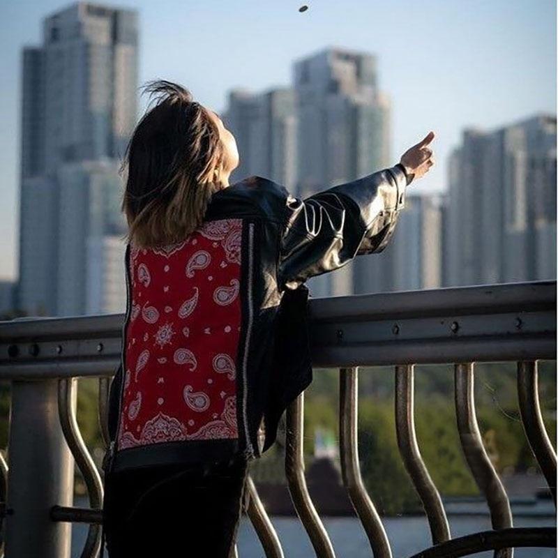 2020 Star Style Black Red Faux Leather PU Jackets Long Sleeve Loose Street Motobiker Coats Punk Fashion Outerwear Women 42-75KG enlarge