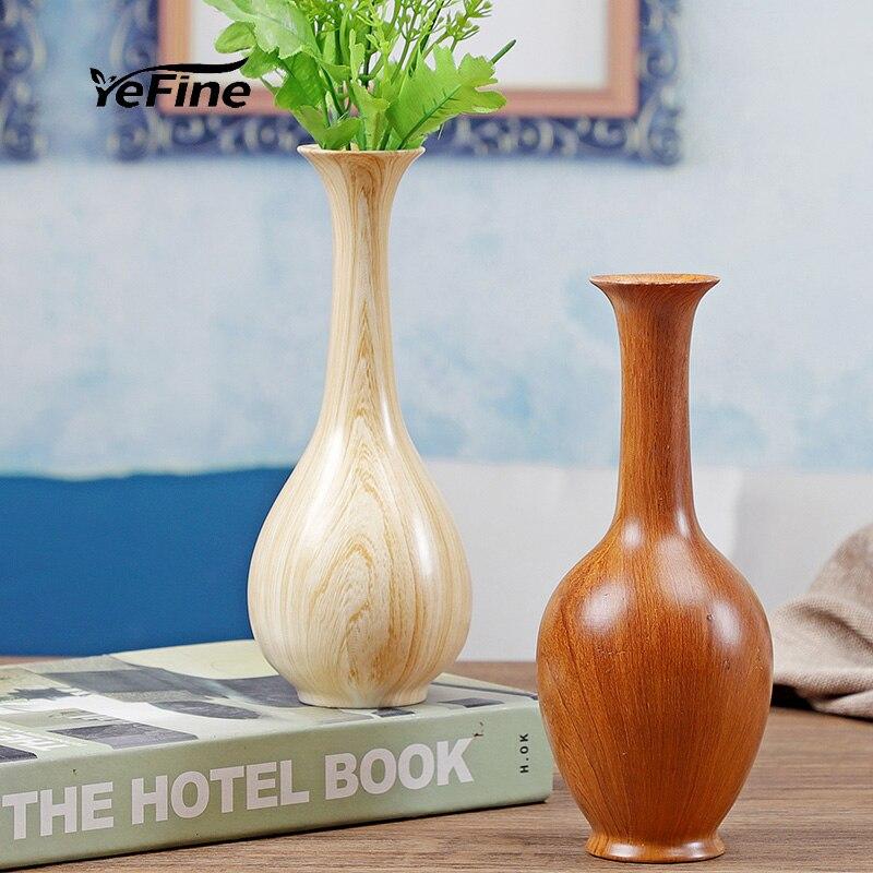 Decoración de jarrón de mesa hidropónica YeFine, decoración para el hogar, arreglo de flor de habitación para salón, jarrón de flores de cerámica de grano de madera de imitación