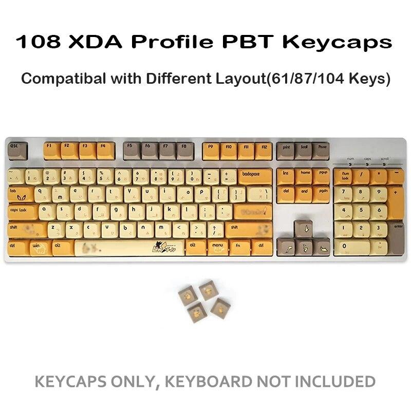 108-مفتاح مستدير أنيمي بيكاتشو Keycap PBT التسامي XDA لوحة المفاتيح الميكانيكية للغاية Keycap الكرز الشخصي صبغ الفرعية ل Cherry MX
