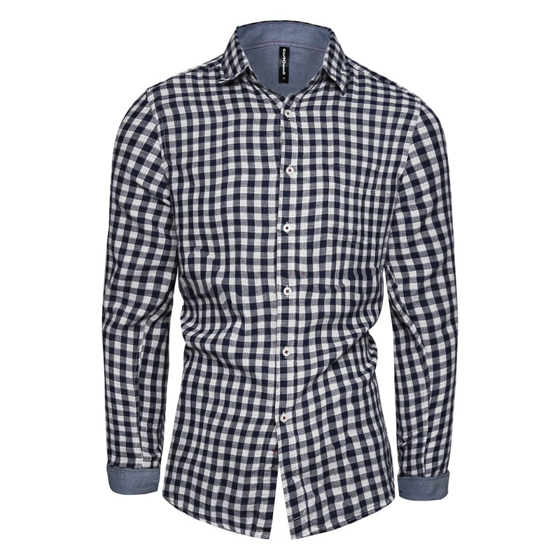2021 New Spring Male Shirt Casual Plaid Long Sleeve Shirts Men Slim Fit Lapel  High Quality 100% Cotton Fashion Men's Shirt selected men s 100% cotton slim fit embroidered long sleeved shirt s 419305564
