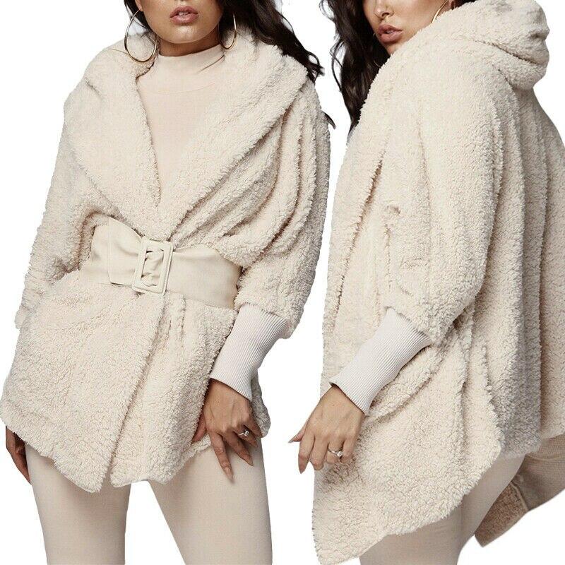 A forma Das Mulheres Casaco de lã Casaco Com Capuz de Pelúcia + Calções Peludos 2PCS Sleepwear Conjunto Pijama Roupa de Dormir para As Mulheres Pink Ladies Branco cinza