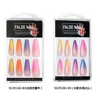 20pcs long coffin fake nails gradient color ballerina full nail art tips with designs press on nails art fake extension tips