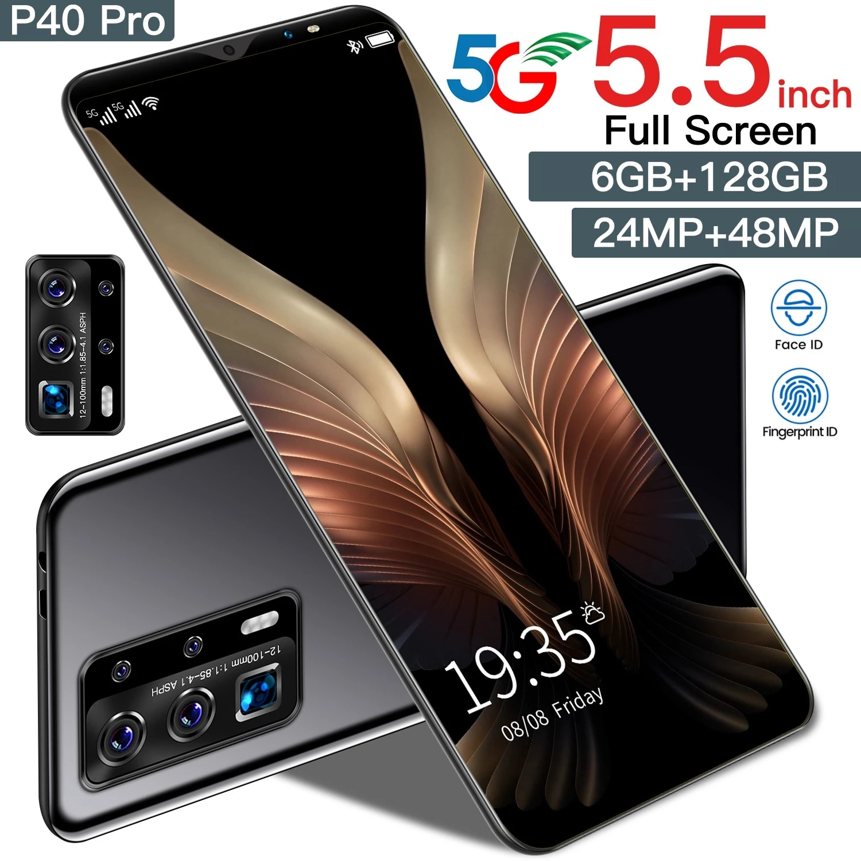 Galxy P40 Pro 5G الهاتف الذكي شاشة 5.5 بوصة أندرويد 10.0 الهاتف المحمول 24 + 48 ميجابكسل 10 الأساسية فتح الهاتف المحمول 4800mAh بطارية معرف الوجه