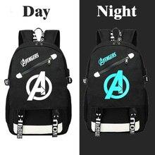 Anime Super hero Avengers Bags Backpack Men Luminous Schoolbag Usb Charging Multifunction Waterproof Travel Bagback