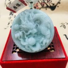 Zheru pur naturel jadéite sculpté vert clair grand dragon jouer perles pendentif avec trois couleurs perles chandail chaîne envoyer un certif