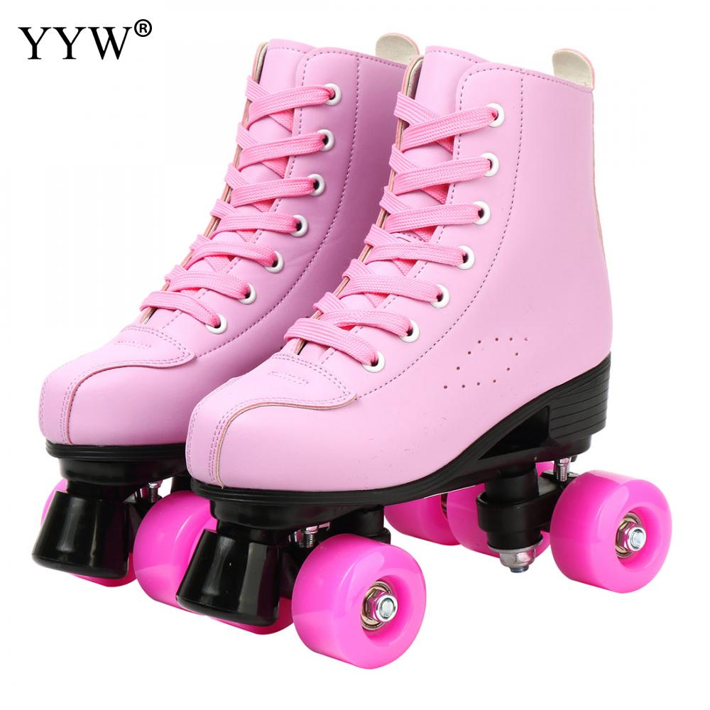 الوردي الأزرق الأبيض زلاجات دوارة في الهواء الطلق رياضة رياضة صف مزدوج سكيت أحذية التزلج 4 عجلة عجلات فلاش أحذية بو الجلود Patines