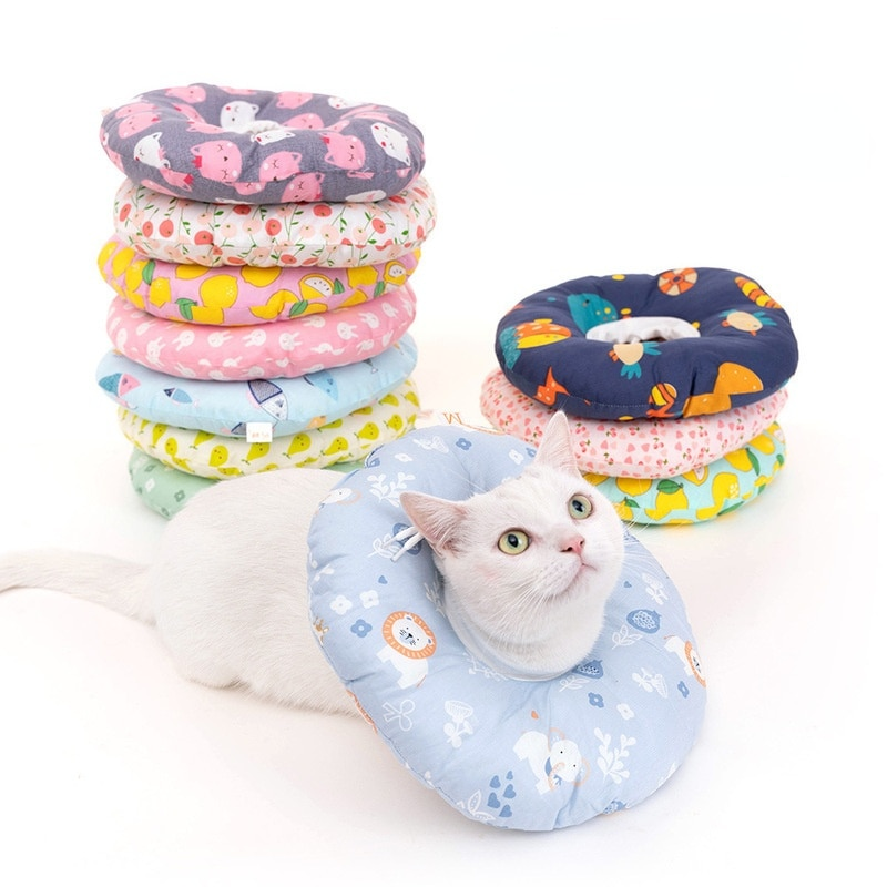 cotton Pet Cat ElizabethanCollar for After Surgery Anti-Bite Lick Dog Recovery Collar Elizabethan Translucent Dog Cone prevent hinder pet dog cat cervical collar injured surgery wound training infection lick bite grab e collars recovery sleeve