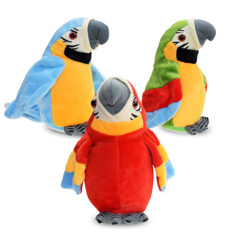 Cute Electric Talking Parrot Plush Toy Speaking Record Repeats Waving Wings Electroni Bird Stuffed P