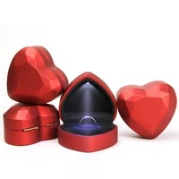 with led light heart shaped ring box velvet holder jewelry chest organizer earrings coin jewelry presentation box case