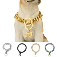 15mm19mm gold dog chain collar with customized pet dog id tagtraining collar for large medium dogs customize size gift jewelry