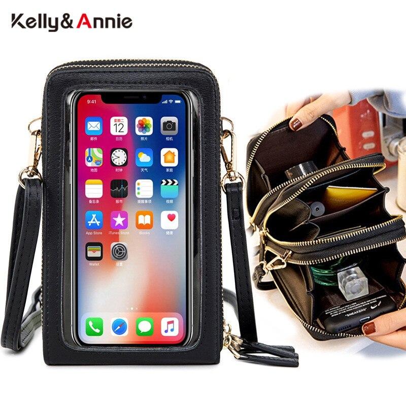 HOT Transparent Touchable Cell Phone Pocket Women's Shoulder Bag Pu Leather Ladies Crossbody Bags Female Small Handbag Purse