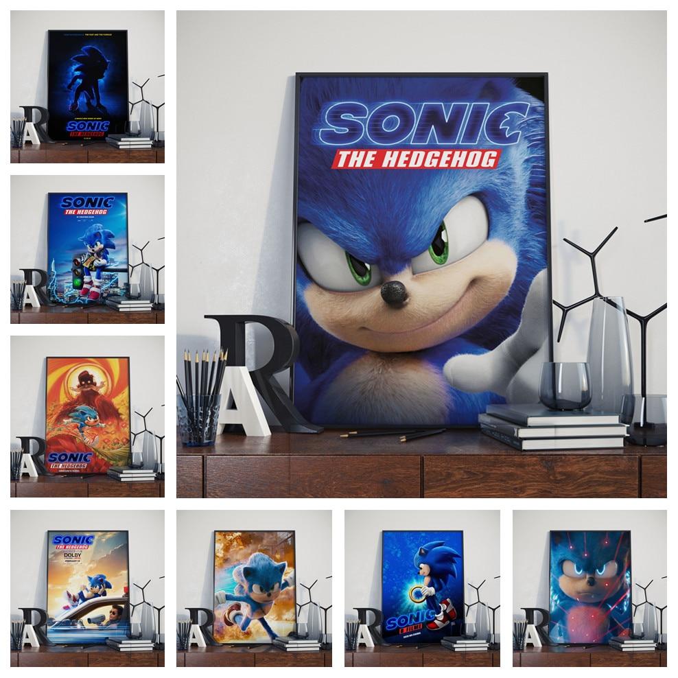Dessin animé mignon Sonic le hérisson film jeu PS Art décor pépinière enfants chambre affiche qualité toile peinture décoration murale A763