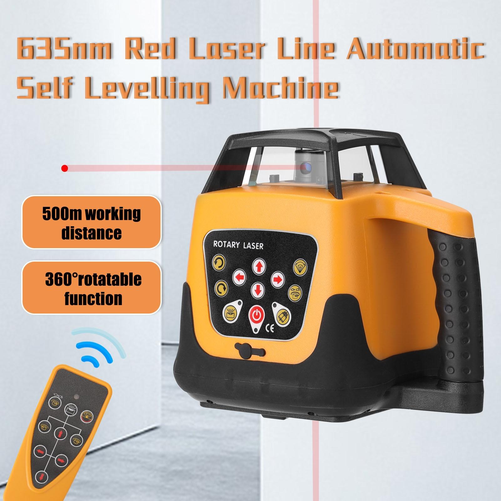 ماكينات تسوية ذاتية آلية للخطوط الحمراء 635nm أوضاع سرعة دوران الاتجاه وزاوية قابلة للضبط مستوى الليزر 500 متر