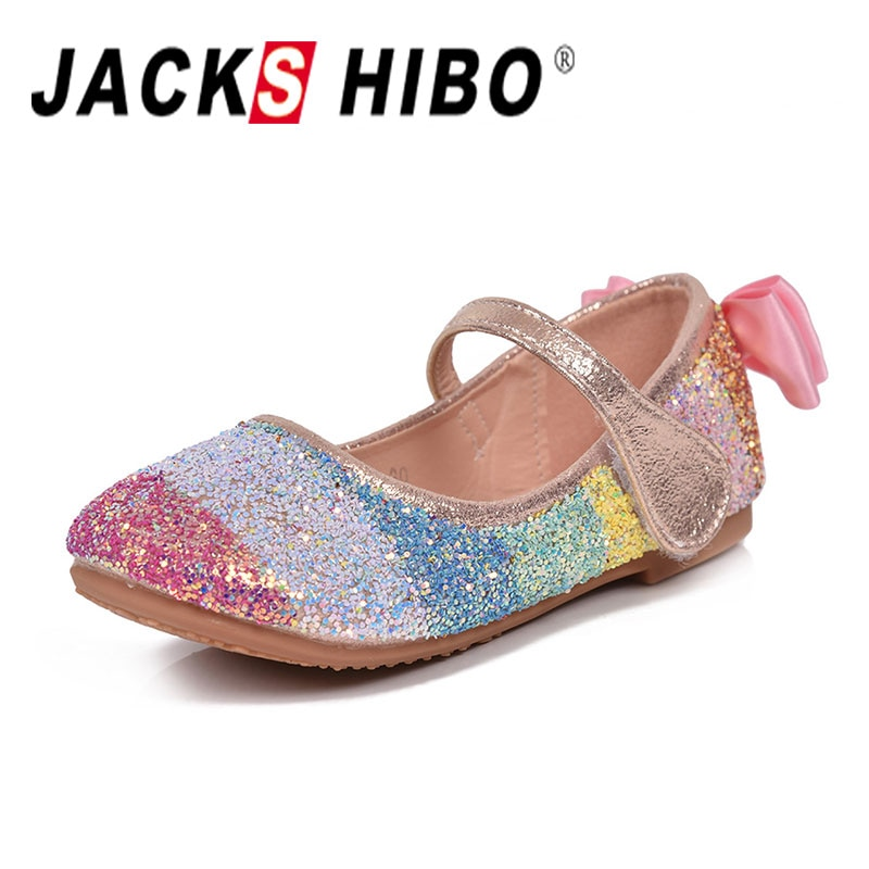 JACKSHIBO 2020 New Spring Children Princess Shoes Girls Sequins Girls Wedding Party Kids Dress Shoes