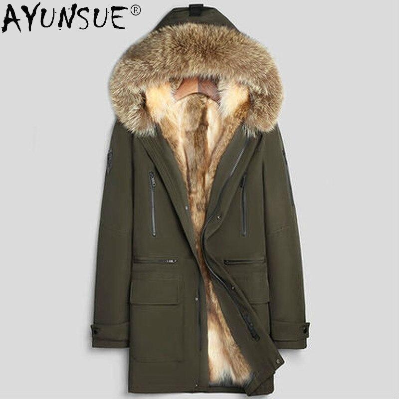 2020 الرجال سترة الشتاء ريال الراكون معطف فرو طويل الذكور مقنعين الملابس 100% ريكس الأرنب كم القص سترات Ropa Hombre LXR346